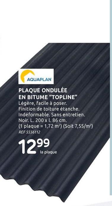 Plaque bitumée ondulée Aquaplan 'Topline' noir 200 x 86 cm Couvrez votre abri de jardin ou votre carport de façon étanche grâce à cette plaque bitumée onduliée d'Aquaplan. Convient pour une toiture inclinée avec une pente de minimum 7°. Le PVC bitume ne demande aucun entretien particulier.