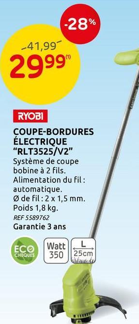 Coupe-bordure électrique Ryobi 'RLT 3525' 350 W Ce coupe-bordures électrique de Ryobi est un outil léger qui permet de tailler de petites zones. Possédant une capacité de 350 W, son diamètre de taille est de 25 cm. Il nécessite un minimum d'entretien. Grâce à un poids léger et une tête pivotante, il permet de couper les bordures en tout confort.