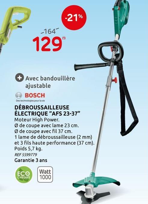 Débroussailleuse Bosch AFS23-37 950W Cette puissante débroussailleuse AFS 23-37 de Bosch a une puissance de 950 W et convient à toutes sortes de travaux de coupe, de l'herbe ordinaire à la végétation sauvage et aux mauvaises herbes. Il dispose d'un système de changement simple et de fils extra forts.<br><br>Avec la débroussailleuse de 23 centimètres, vous pouvez facilement couper le roseau et les hautes herbes. Les pelouses et les bords peuvent être facilement coupés avec le fil de 37 centimètres. La bandoulière et la poignée réglables offrent un équilibre supplémentaire lors de la coupe. Ainsi, vous travaillez sans problème et pendant longtemps sans vous fatiguer le dos.