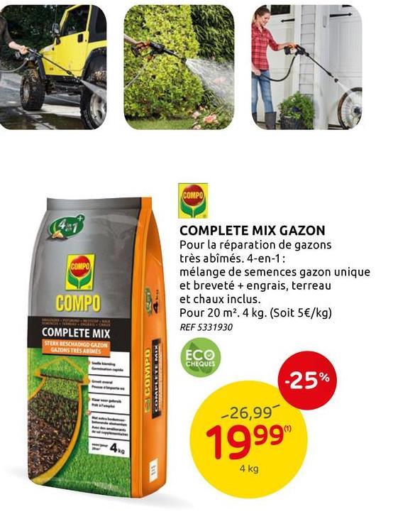 Engrais rénovation gazon Compo Complete Mix 4-en-1 (6m²) 1,2kg L'été arrive et vous voulez pouvoir profiter d'une belle pelouse verte et fournie&nbsp;? Utilisez alors le mélange Complete Mix 4-in-1 pour réparation de gazons abîmés de la marque Compo. Ce produit est composé d'un mélange de semences pour gazon, de terreau, d'engrais et de chaux. La semence est spécialement conçue pour résister mieux aux conditions extrêmes comme la chaleur, la sécheresse, l'ombre ou le froid. L'engrais permet de nourrir le gazon pendant 3 mois et , grâce à la germination très rapide des semences, vous verrez les premières pousses apparaitre après déjà 5 jours. Vous obtiendrez un gazon dense, résistant et bien vert. Le sac contient 1,2 kg de mix, ce qui vous permet de traiter environ 6 m² de pelouse. <br><br> Envie de découvrir d'autres produits et accessoires de jardin de la marque Compo&nbsp;? Jetez un coup d'œil à notre site internet ou rendez-vous dans l'un de nos magasins Brico et BricoPlanit.