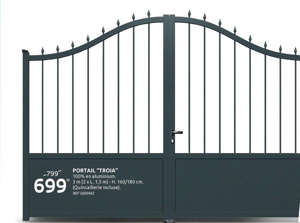 """Portail Gardengate Troia Aluminium 300x160x180cm anthracite Le portail anthracite à double battants Troia de Gardengate a le look élégant classique d'un portail à barreaux en fer forgé mais avec tous les avantages de l'aluminium! Le portail est léger, mais en même temps robuste et de haute qualité et idéal pour une utilisation quotidienne! Avec le portail en aluminium classique Troia, un système d'entraînement électrique peut également être installé, les profilés renforcés sont placés de manière à ce que le montage de l'automatisation du portail battant soit rendue possible. Ce système est disponible séparément. Le portail ne se déformera pas et ne rouillera pas avec le temps, il est livré avec 2 poignées, une serrure cylindrique avec 3 clés de sécurité, 4 charnières, 2 capuchons et un arrêt de porte. Nettoyez le portail de temps en temps avec de l'eau savonneuse et il durera des années! <br><br>Néanmoins si vous recherchez un portail plus en adéquation avec vos besoins et envies,  allez jeter un oeil à ce <u> <a target="""":_blank:""""> configurateur sur mesure  </a></u><a target="""":_blank:""""> Gardengate, vous y trouverez votre bonheur.</a>"""