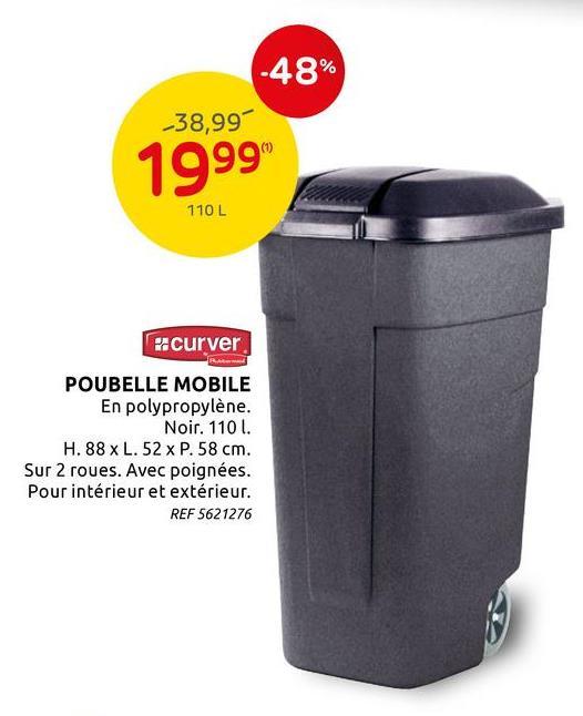 Poubelle mobile Curver noir 110 L Cette poubelle mobile de la marque Curver est en polypropylène et est idéal pour trier vos déchets. Ce produit a une capacité de 110 L, est pourvu d'une poignée et de deux roues. Cette poubelle peut se placer aussi bien à l'intérieur qu'à l'extérieur.