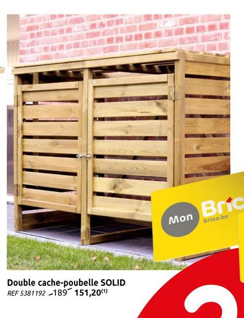 Cache poubelle double bois 120 x 150 cm Grâce à la cache poubelle double vous pouvez ranger vos poubelles d'une manière efficace.