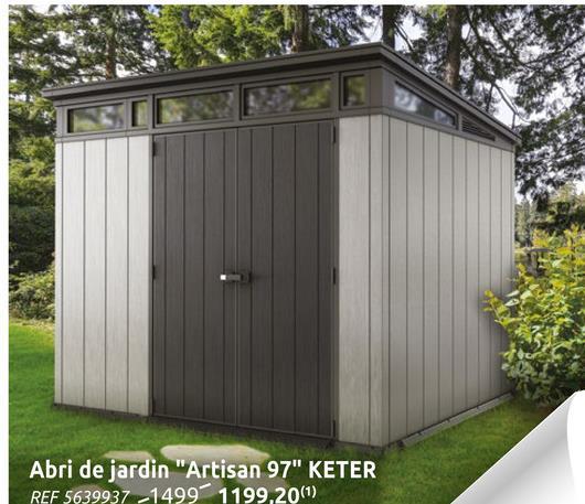Abris de jardin Keter Artisan 97 gris 6m² L'abri de jardin double porte Artisan 97 de Keter, résiste aux intempéries, est facile à nettoyer et demande peu d'entretien. Pourvu de renforts en acier, il assure un espace de rangement robuste avec des parois repeignables et des claires-voies pour laisser entrer la lumière. Son montage est facile, et sa serrure vous permet de stocker votre matériel et vos outils de jardinage en toute sécurité. Cet abri de jardin mesure 278x218x226 cm.