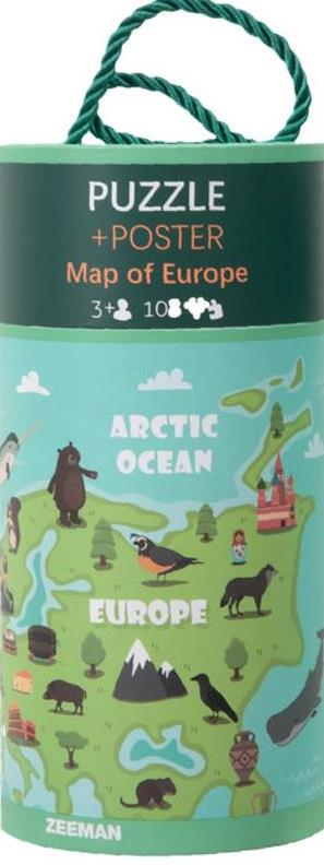 PUZZLE +POSTER Map of Europe 3+3 108 ARCTIC OCEAN EUROPE ZEEMAN