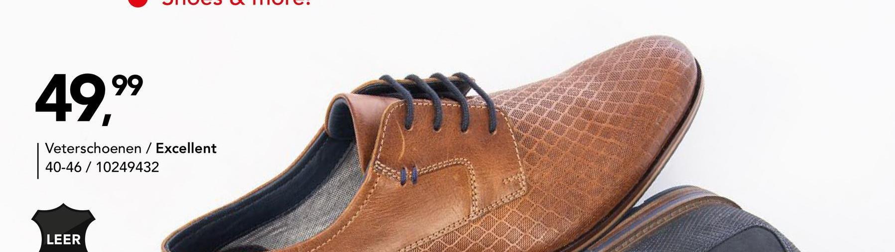Leren veterschoen Excellent - Cognac - maat 40 - Heren   - Goedkope Geklede schoenen - Leer - Nette leren schoenen Nog op zoek naar een geklede veterschoen voor mannen? Kies dan zeker voor dit leren model met subtiele print van het merk Excellent.