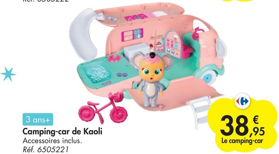 * 3 ans+ Camping-car de Kaoli Accessoires inclus. Réf. 6505221 38,95 € ,95 Le camping-car