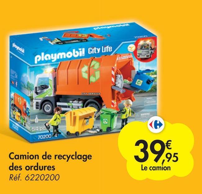 playmobil City Life incs 54 pcs 70200 39,95 Camion de recyclage des ordures Réf. 6220200 ,95 Le camion