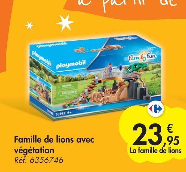 phougmales family fun playmobil 61 es 70363/4. 23 € ,95 La famille de lions Famille de lions avec végétation Réf. 6356746