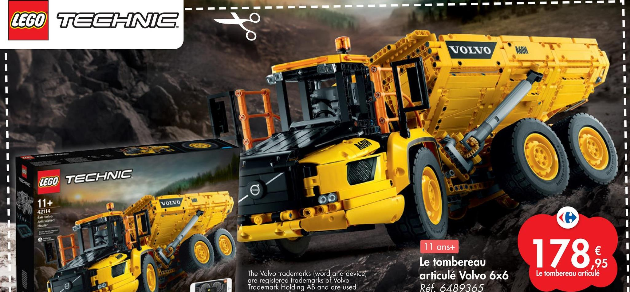 LEGO TECHNIC VOLVO WA TALE 124502 LEGO TECHNIC 11+ VOLVO 42114 6a6 Volvo Articulated Hauler 11 anst Le tombereau articulé Volvo 6x6 Réf. 6489365 178 € 1,95 Le tombereau articulé The Volvo trademarks (word and device) are registered trademarks of Volvo Trademark Holding AB and are used OO