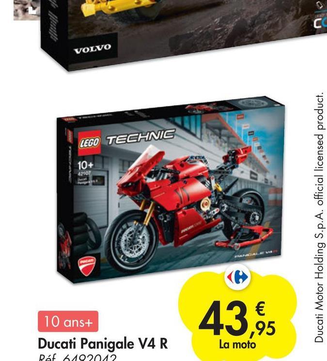 C VOLVO LEGO TECHNIC 10+ 42102 Ducati Motor Holding S.p.A. official licensed product. 43,95 10 ans+ Ducati Panigale V4 R La moto Ref 6102012