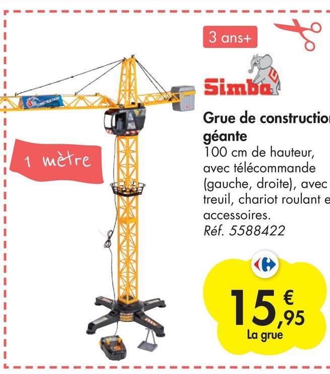3 ans+ Simbay 1 mètre Grue de constructio géante 100 cm de hauteur, avec télécommande (gauche, droite), avec treuil, chariot roulante accessoires. Réf. 5588422 € ,95 La grue - 1 1 1 1 1