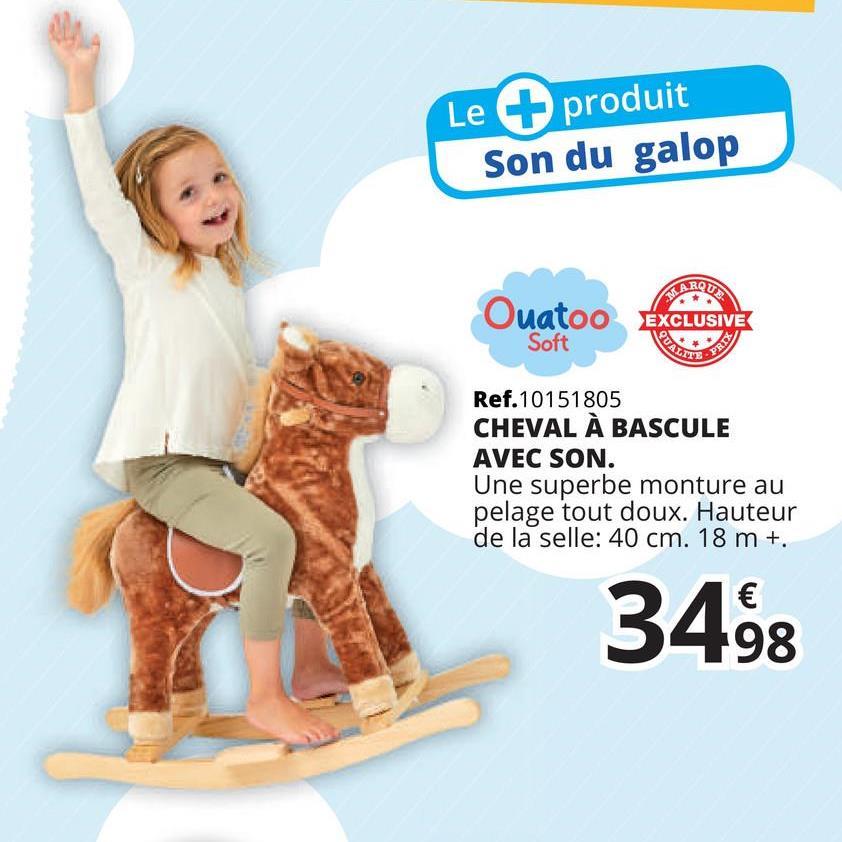 Cheval à bascule avec son Cheval à bascule avec son Monter à cheval, c'est possible dès 18 mois pour tous les bébés qui aiment les animaux ! Cette superbe monture au pelage tout doux les accueille sur son dos pour se balancer doucement ! Et ce joli cheval produit même le son du galop ! Les poignées en bois permettent de bien maintenir l'équilibre des cavaliers.Fiche technique :Poids maximum : 25 kgDimensions : L= 74 cm x P= 33 cm x H= 62 cmNécessite 2 LR06 inclusesÀ partir de 18 mois jusque 36 mois maximum
