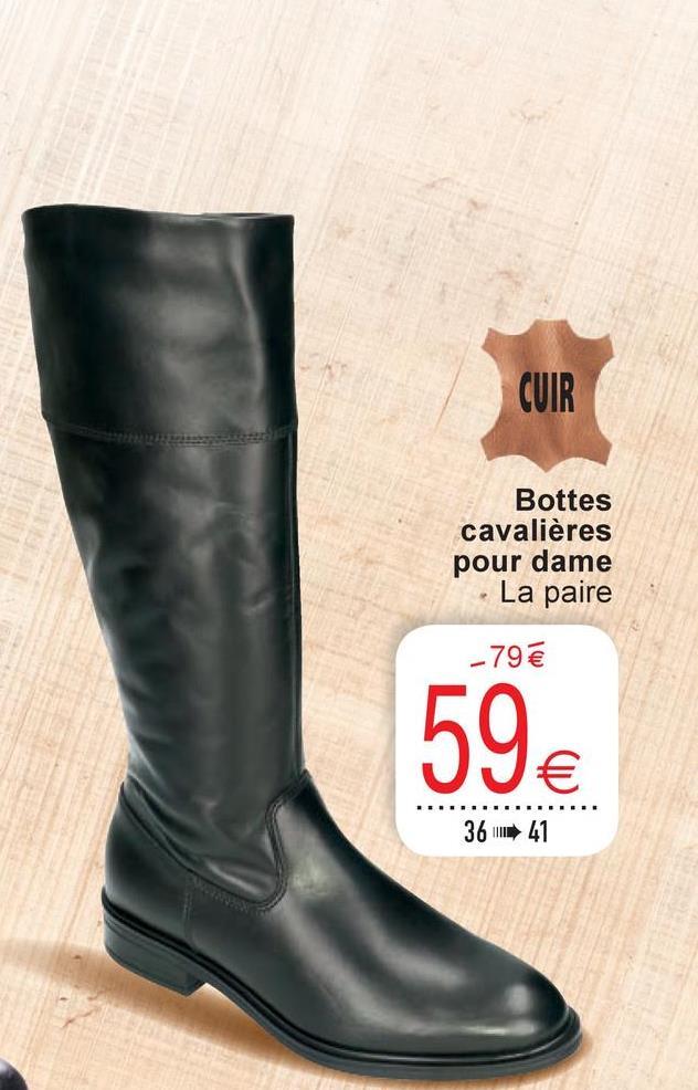 CUIR Bottes cavalières pour dame La paire -79 € 59€ 36 41