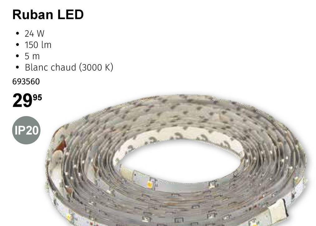 Ruban LED . 24 W 150 lm • 5 m . Blanc chaud (3000 K) 693560 2995 IP20