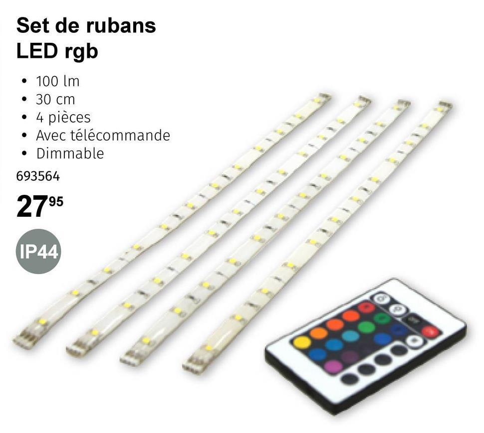 Set de rubans LED rgb • 100 lm • 30 cm • 4 pièces • Avec télécommande • Dimmable 693564 2795 IP44 so