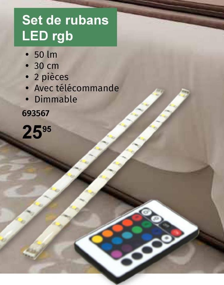 Set de rubans LED rgb • 50 lm • 30 cm • 2 pièces • Avec télécommande Dimmable . 693567 2595