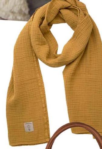 Lässig Châle/écharpe d'allaitement tetra mustard En coton, l'écharpe est lavable à 60° C en machine. <br/>Lg 64 x L 210 cm.