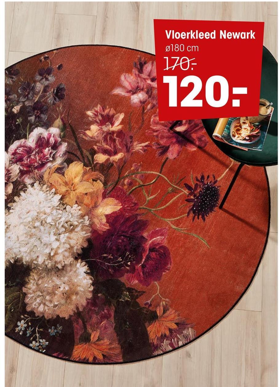 Vloerkleed Newark Multicolor Een sfeervol rond vloerkleed met bloemen design. Doorsnede 180 cm.