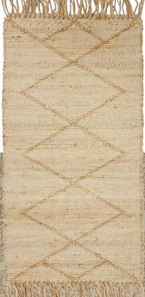 Vloerkleed Walker Naturel Handgemaakt vloerkleed met naturel kleur en speels ruitpatroon. Sterk, natuurlijk en slijtvast. Voorzien van het Care & Fair keurmerk. 120x60 cm (lxb).