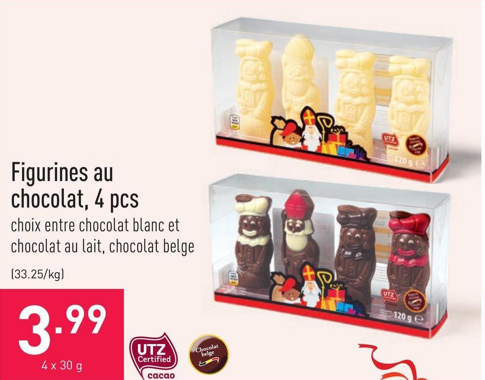 Figurines au chocolat, 4 pcs choix entre chocolat blanc et chocolat au lait, chocolat belge