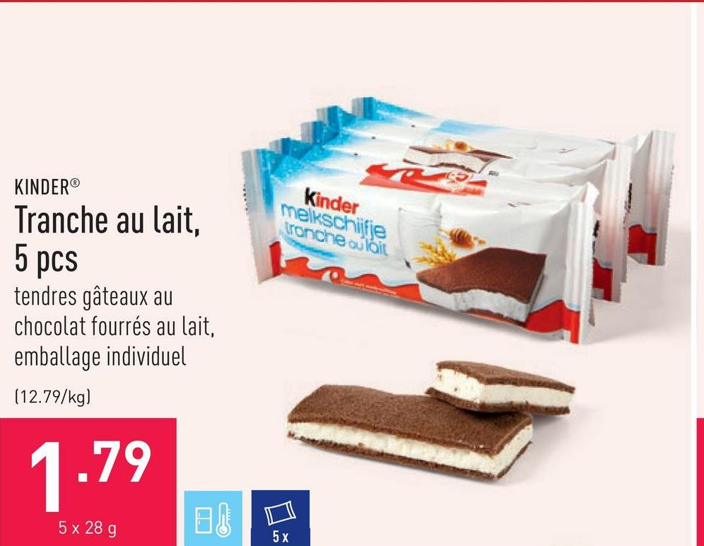Tranche au lait, 5 pcs tendres gâteaux au chocolat fourrés au lait, emballage individuel