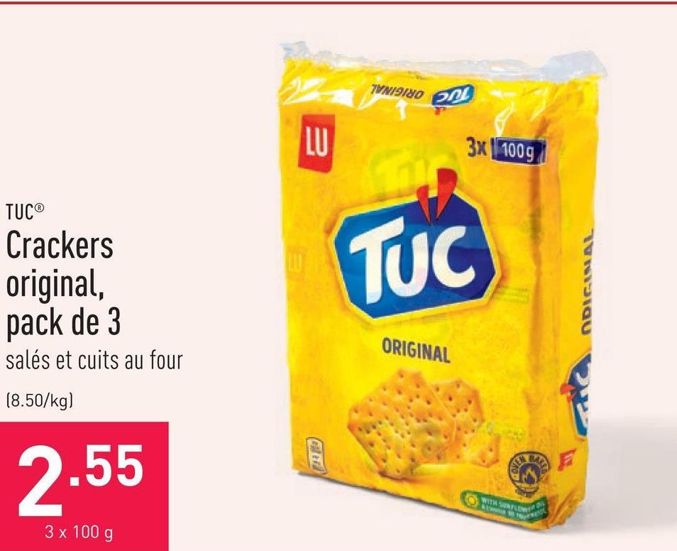 Crackers original Tuc, pack de 3 salés et cuits au four