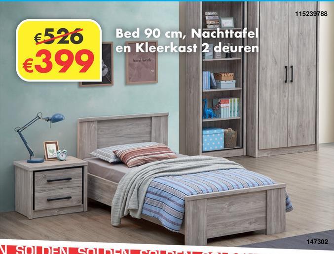 Jeugdkamer Eli Bed 90 cm met nachttafel en kleerkast 2 draaideuren