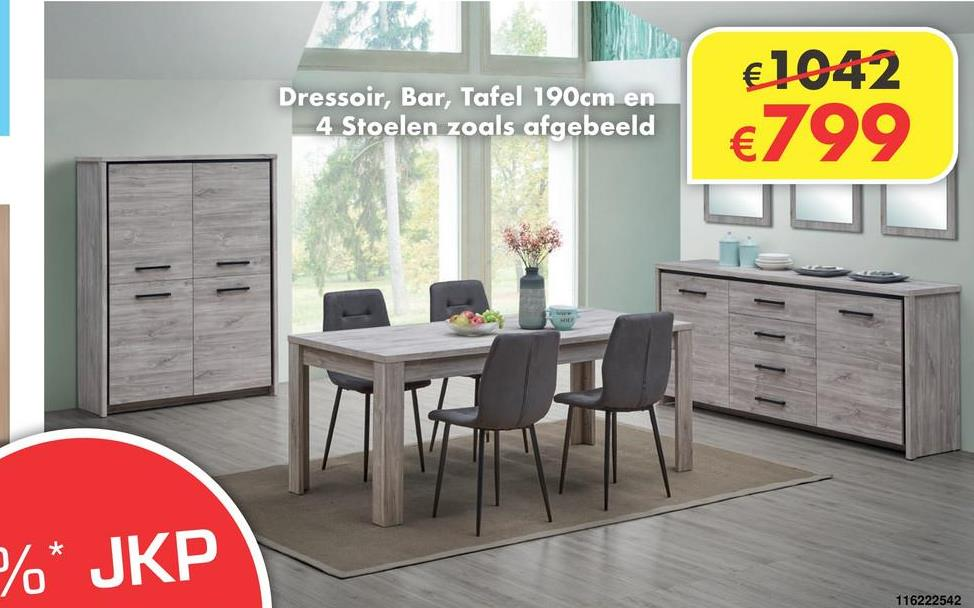 Eetkamer Eli Eetkamer in kleur grijs eik. Dressoir, bar, tafel 190 en 4 stoelen zoals afgebeeld.