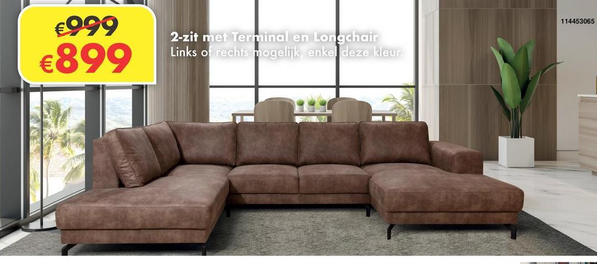 Salon Wout 2-zit met longchair en terminal. Enkel deze kleur, enkel links of rechts mogelijk.