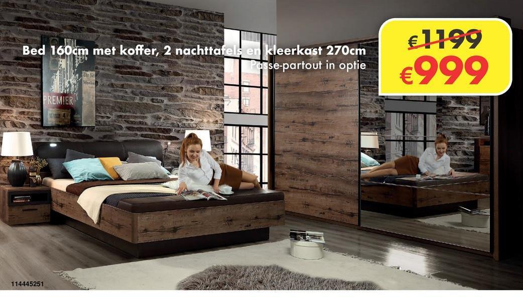 Slaapkamer Lafon Deze complete slaapkamer bevat een bed met koffer 160x200cm, 2nachttafels en kleerkast van 270cm. Passe-partout in optie.Deze slaapkamer is exclusief lattenbodems en matras.