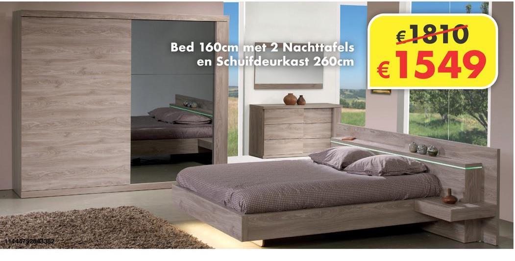 Slaapkamer Memphis Deze slaapkamer omvat een bed van 160 cm met 2 nachtkastjes + kleerkast van 260 cm. Inclusief verlichting. De slaapkamer is exclusief lattenbodems en matras.
