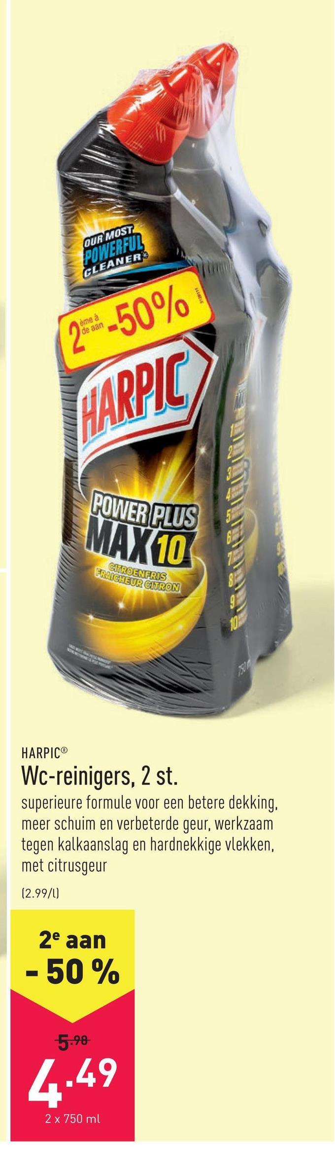 Wc-reinigers, 2 st. superieure formule voor een betere dekking, meer schuim en verbeterde geur, werkzaam tegen kalkaanslag en hardnekkige vlekken, met citrusgeur
