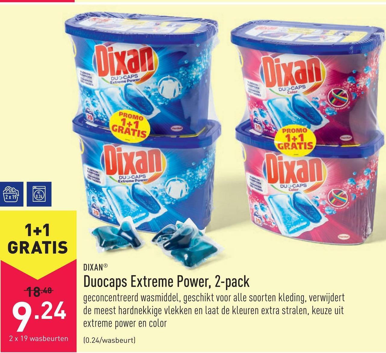 Duocaps Extreme Power, 2-pack geconcentreerd wasmiddel, geschikt voor alle soorten kleding, verwijdert de meest hardnekkige vlekken en laat de kleuren extra stralen, keuze uit extreme power en color