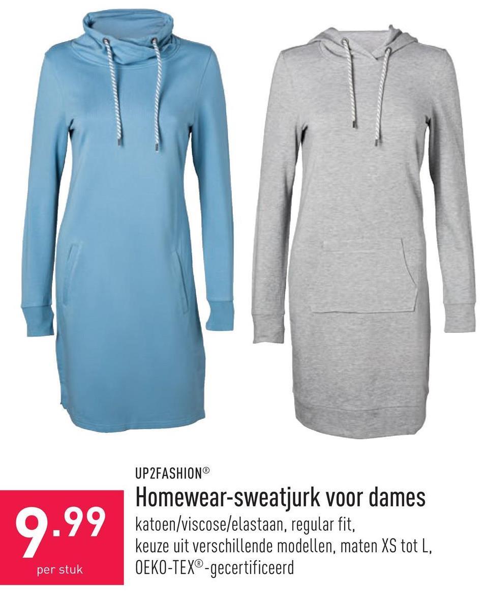Homewear-sweatjurk voor dames katoen/viscose/elastaan, regular fit, keuze uit verschillende modellen, maten XS tot L, OEKO-TEX®-gecertificeerd