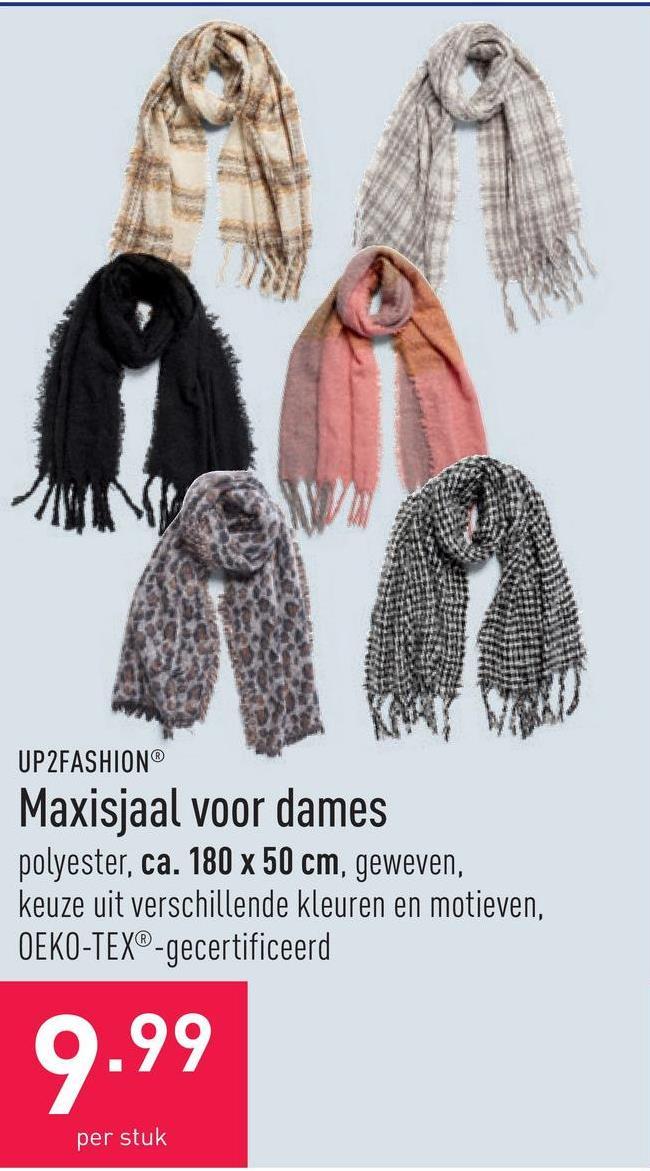 Maxisjaal voor dames polyester, ca. 180 x 50 cm, geweven, keuze uit verschillende kleuren en motieven, OEKO-TEX®-gecertificeerd