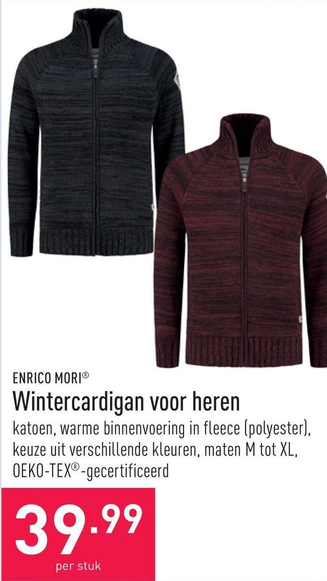 Wintercardigan voor heren katoen, warme binnenvoering in fleece (polyester), keuze uit verschillende kleuren, maten M tot XL, OEKO-TEX®-gecertificeerd