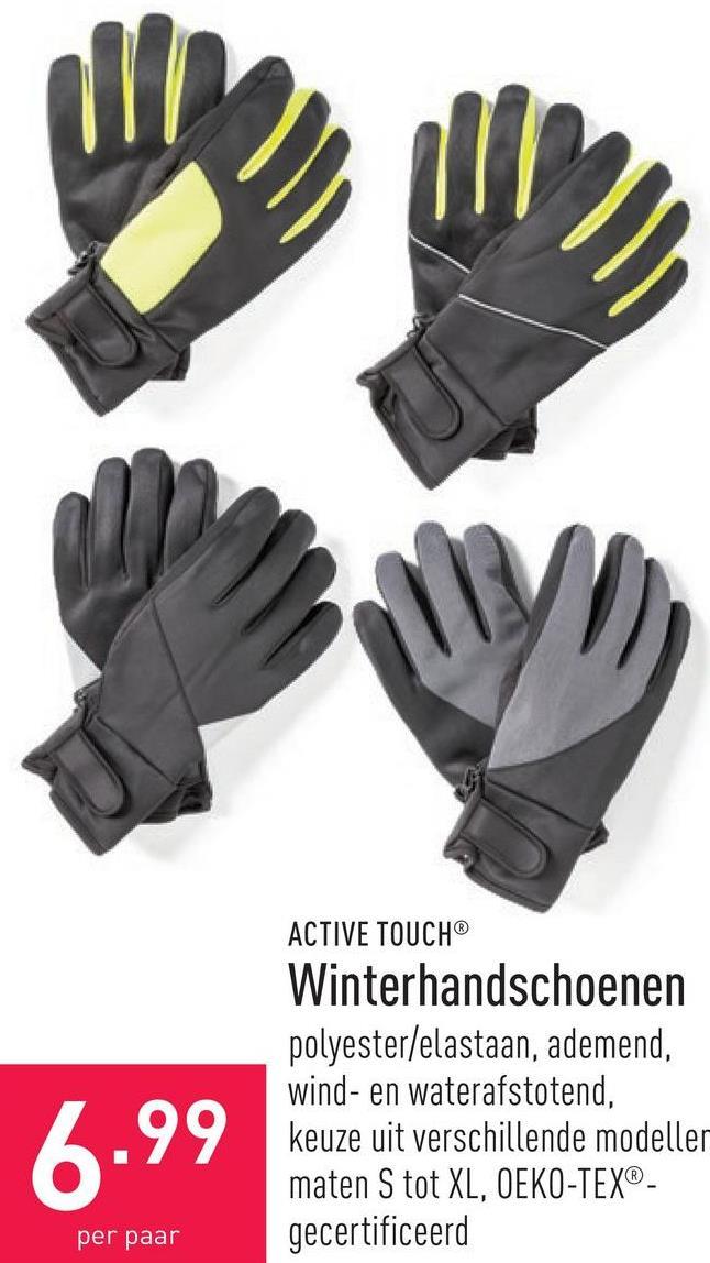 Winterhandschoenen polyester/elastaan, ademend, wind- en waterafstotend, keuze uit verschillende modellen, maten S tot XL, OEKO-TEX®-gecertificeerd