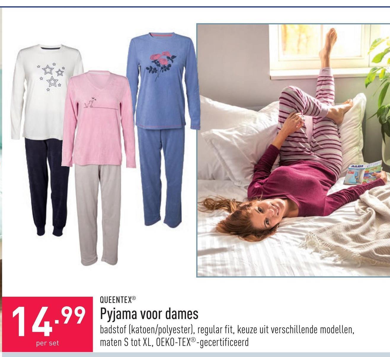 Pyjama voor dames badstof (katoen/polyester), regular fit, keuze uit verschillende modellen, maten S tot XL, OEKO-TEX®-gecertificeerd