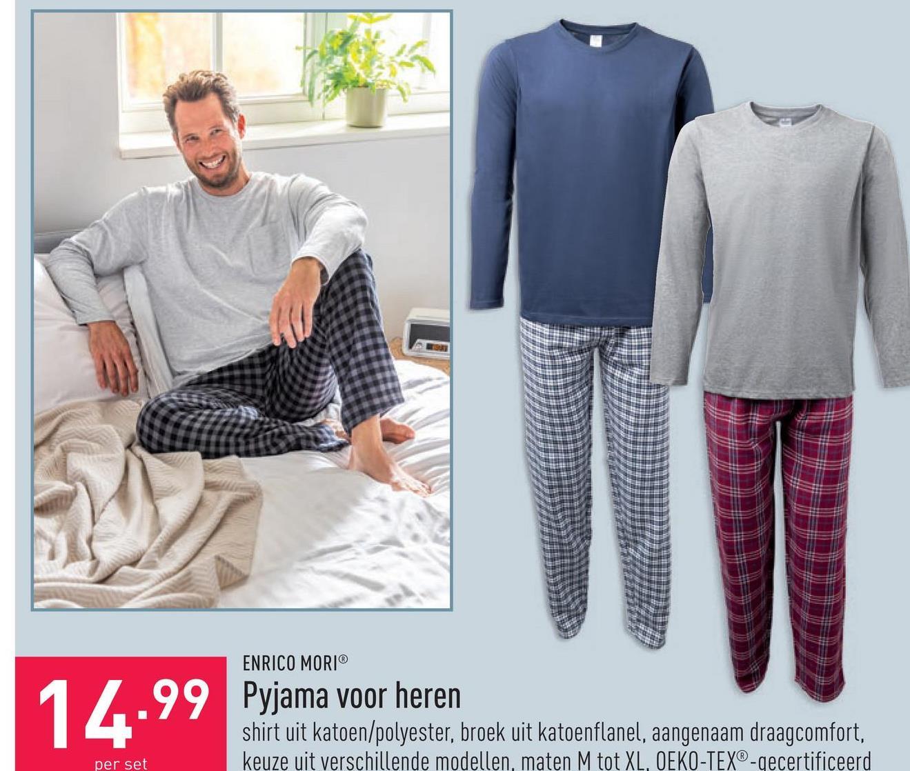 Pyjama voor heren shirt uit katoen/polyester, broek uit katoenflanel, aangenaam draagcomfort, keuze uit verschillende modellen, maten M tot XL, OEKO-TEX®-gecertificeerd