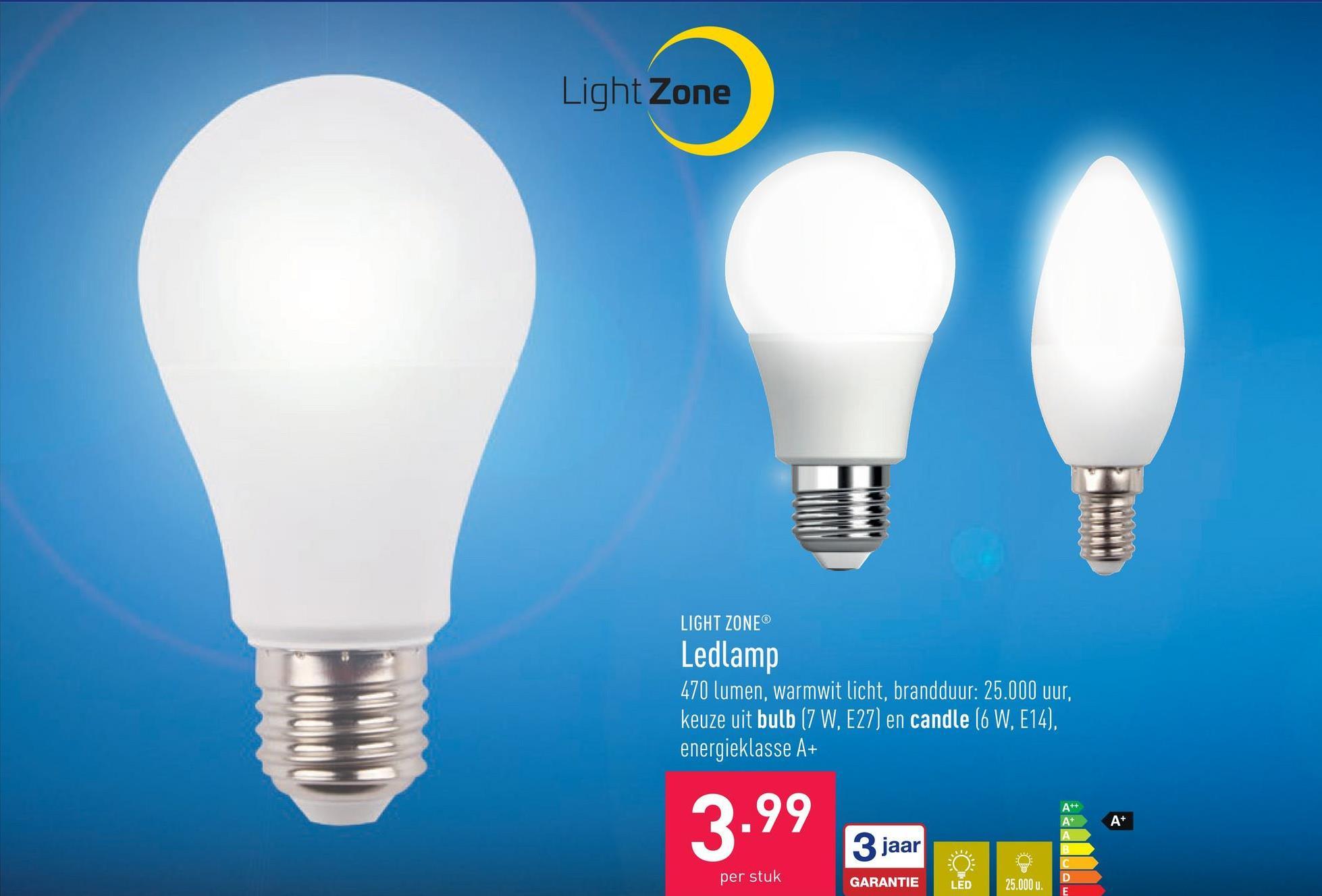 Ledlamp 470 lumen, warmwit licht, brandduur: 25.000 uur, keuze uit bulb (7 W, E27) en candle (6 W, E14), energieklasse A+