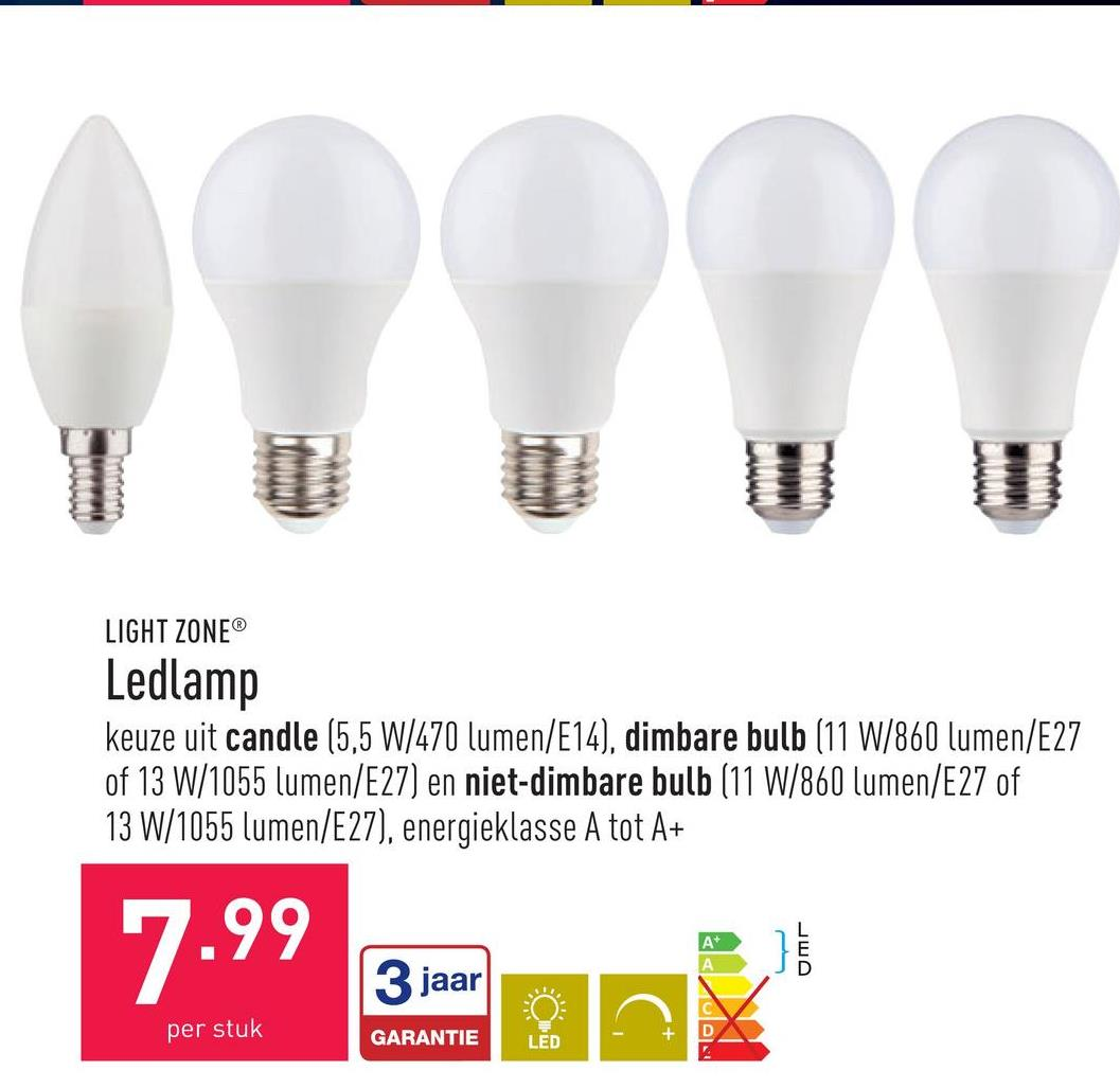 Ledlamp keuze uit candle (5,5 W/470 lumen/E14), dimbare bulb (11 W/860 lumen/E27 of 13 W/1055 lumen/E27) en niet-dimbare bulb (11 W/860 lumen/E27 of 13 W/1055 lumen/E27), energieklasse A tot A+