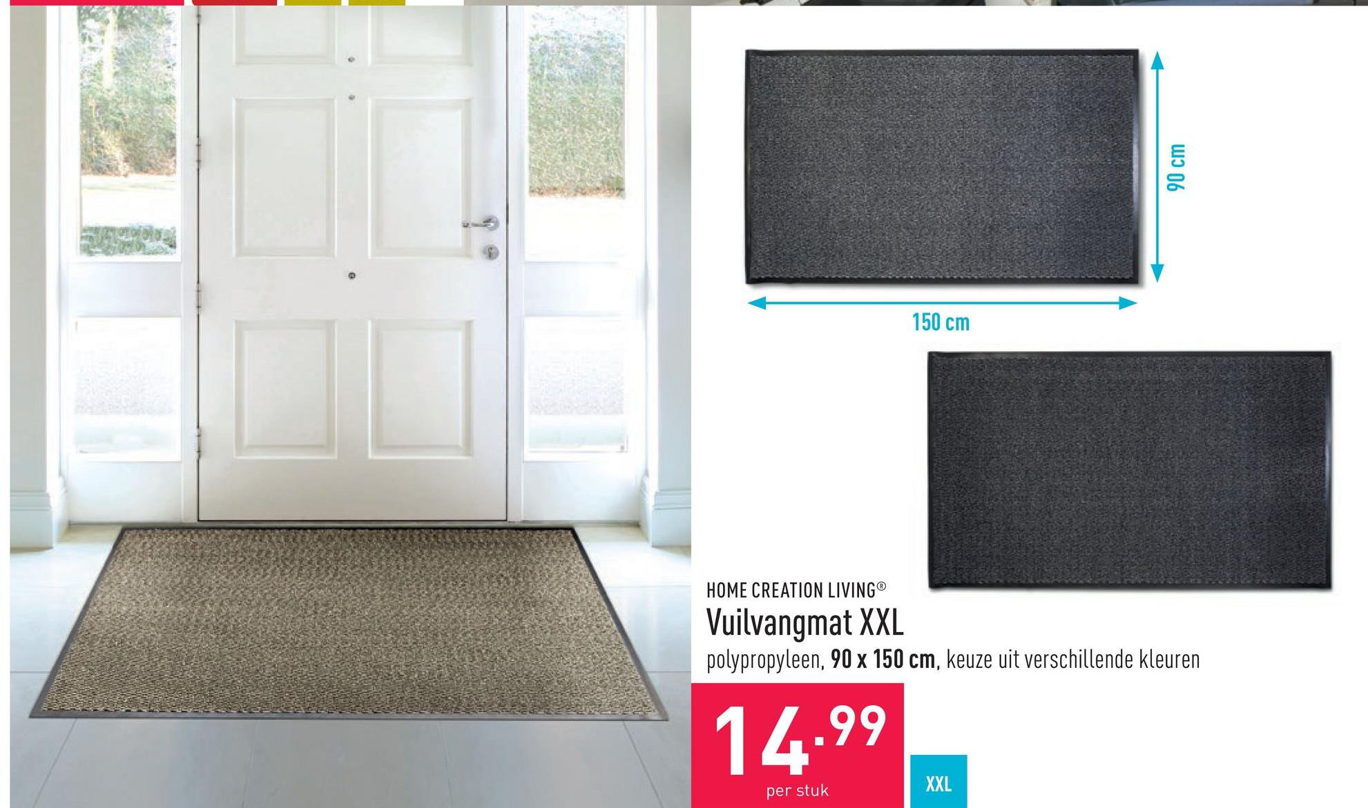 Vuilvangmat XXL polypropyleen, 90 x 150 cm, keuze uit verschillende kleuren