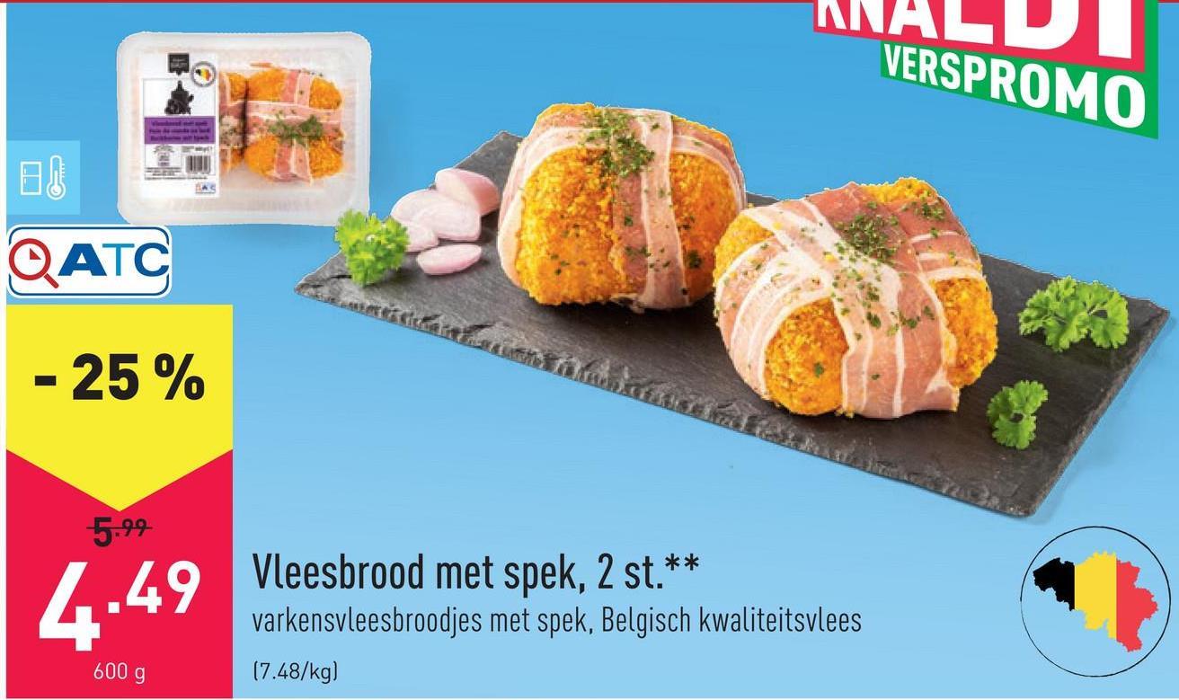 Vleesbrood met spek varkensvleesbroodjes met spek, 2 stuks, Belgisch kwaliteitsvlees