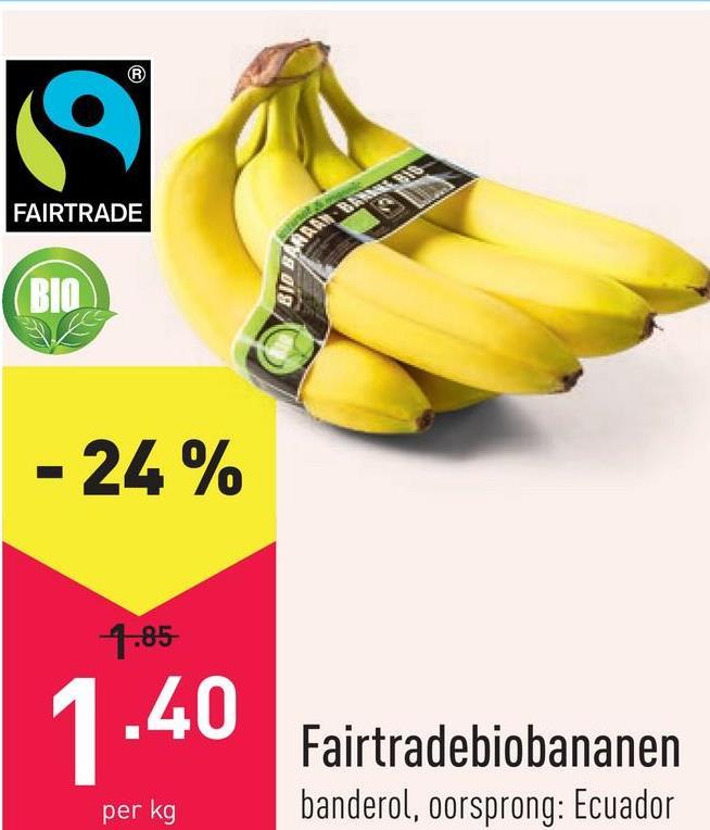Fairtradebiobananen banderol, oorsprong: Ecuador
