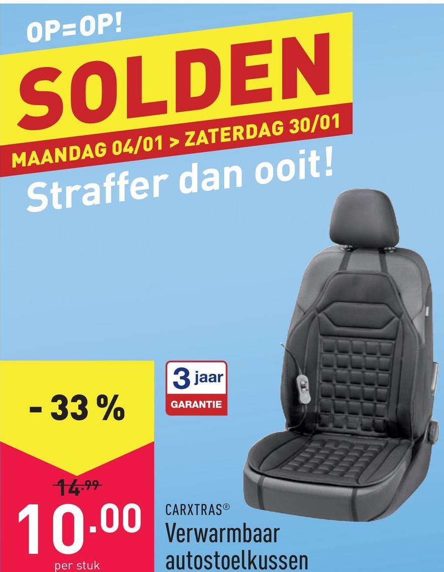 Verwarmbaar autostoelkussen polyester/polypropeen, eenvoudige aansluiting op de sigarettenaansteker, geschikt voor bestuurders- en passagiersstoel, warmte instelbaar in 2 standen, eenvoudige bevestiging door rubberen banden, geschikt voor alle gangbare autostoelen met en zonder zijairbag