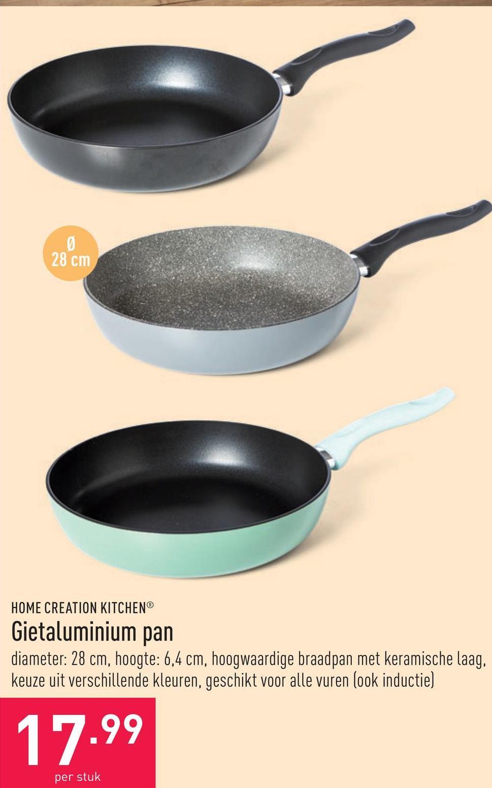 Gietaluminium pan diameter: 28 cm, hoogte: 6,4 cm, hoogwaardige braadpan met keramische laag, keuze uit verschillende kleuren, geschikt voor alle vuren (ook inductie)