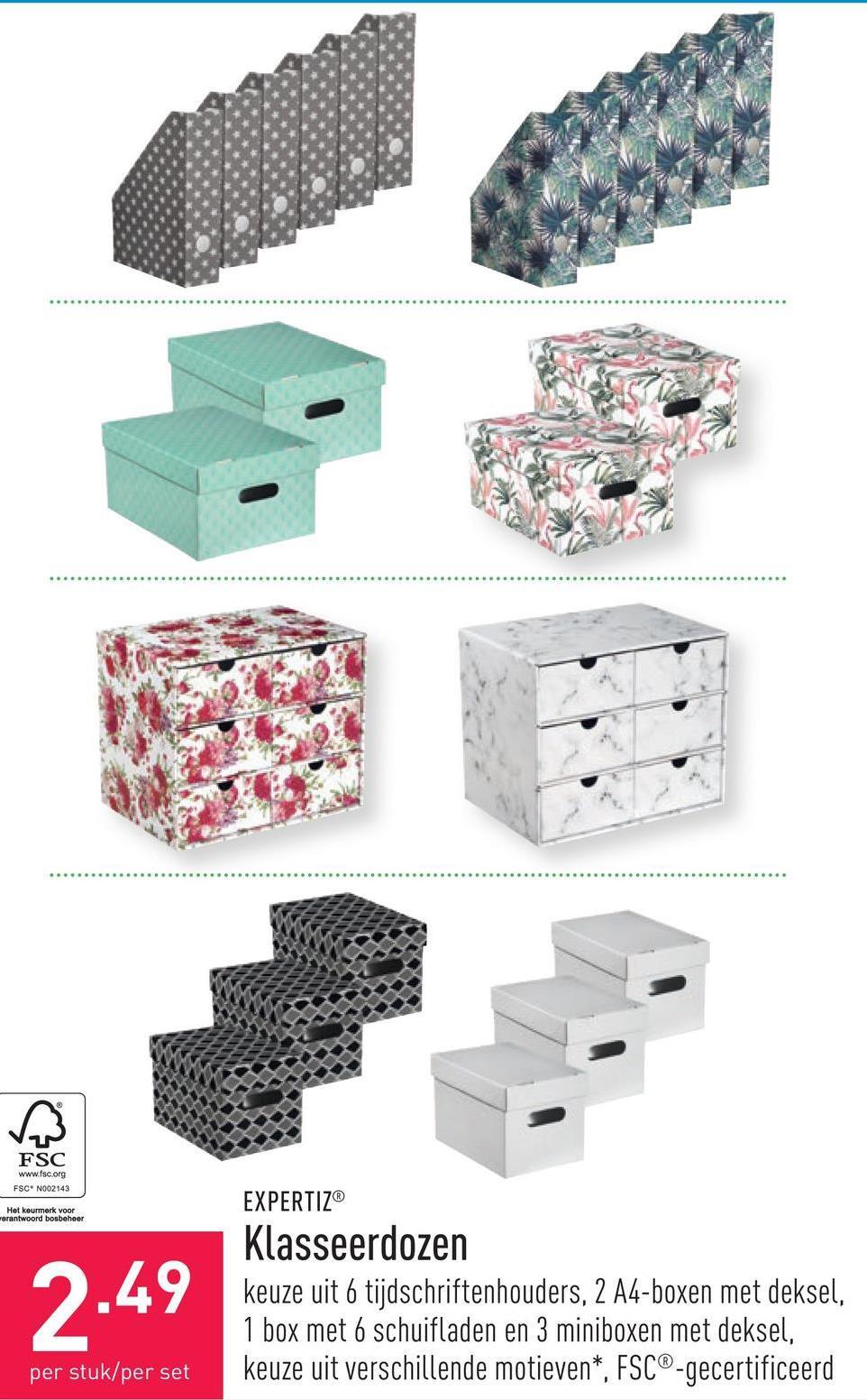 Klasseerdozen keuze uit 6 tijdschriftenhouders, 2 A4-boxen met deksel, 1 box met 6 schuifladen en 3 miniboxen met deksel, keuze uit verschillende motieven*, FSC®-gecertificeerd