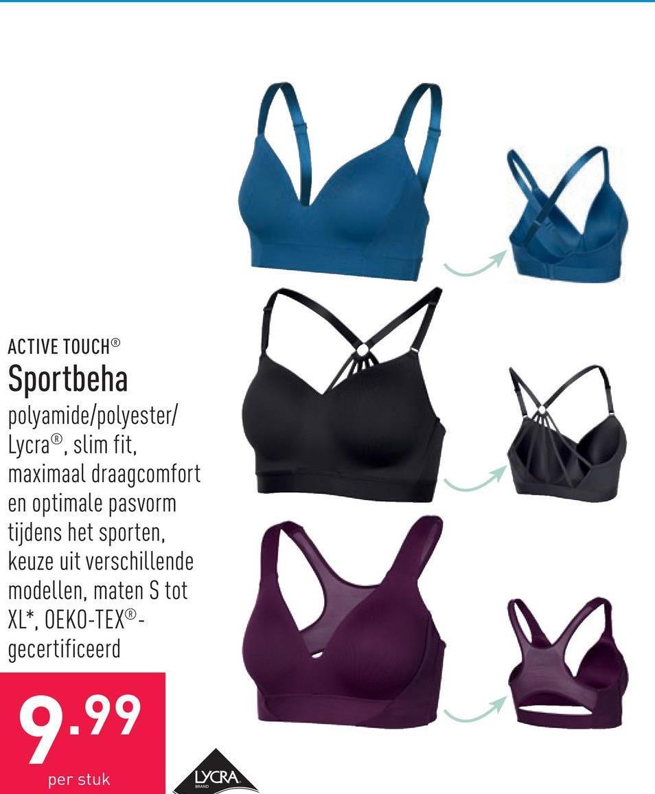 Sportbeha polyamide/polyester/Lycra®, slim fit, maximaal draagcomfort en optimale pasvorm tijdens het sporten, keuze uit verschillende modellen, maten S tot XL*, OEKO-TEX®-gecertificeerd