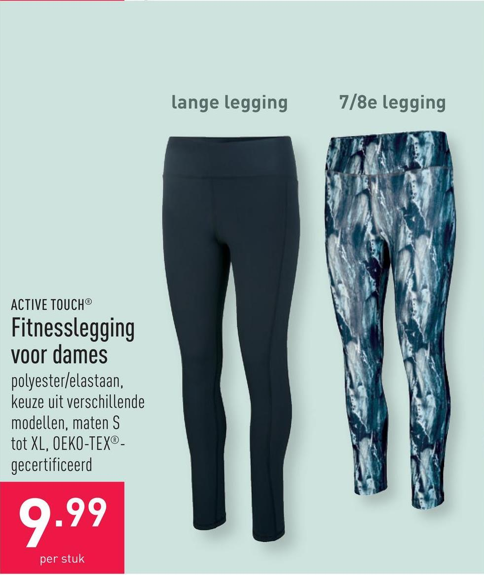 Fitnesslegging voor dames polyester/elastaan, keuze uit verschillende modellen, maten S tot XL, OEKO-TEX®-gecertificeerd